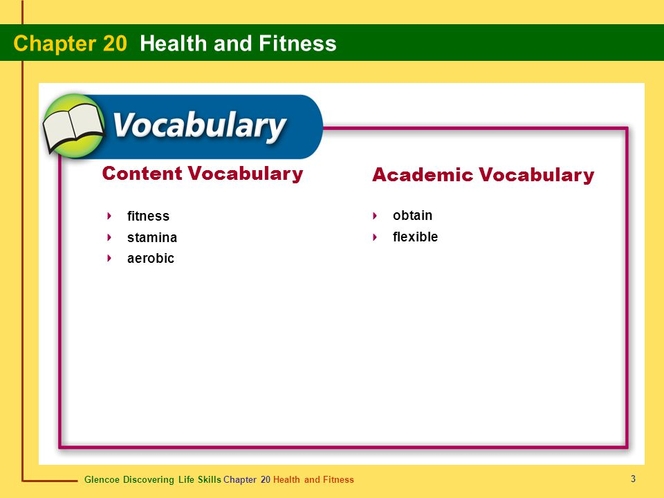 Content Vocabulary Academic Vocabulary fitness stamina aerobic obtain