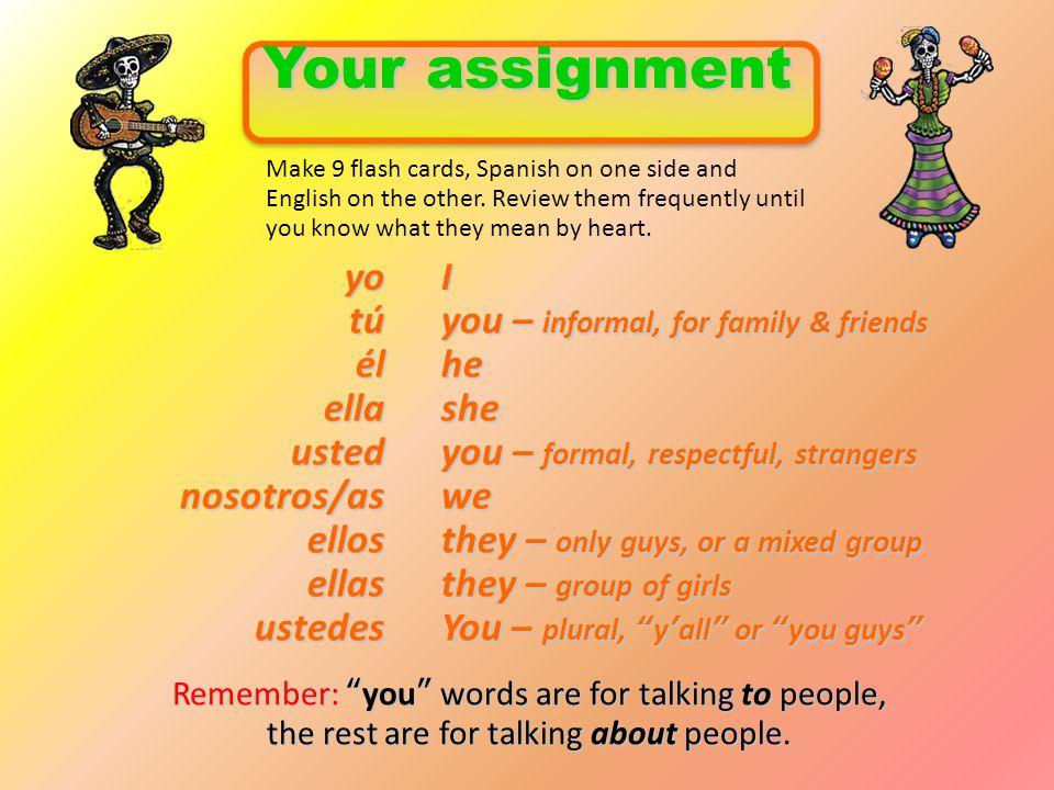 Your assignment yo I tú you – informal, for family & friends él he