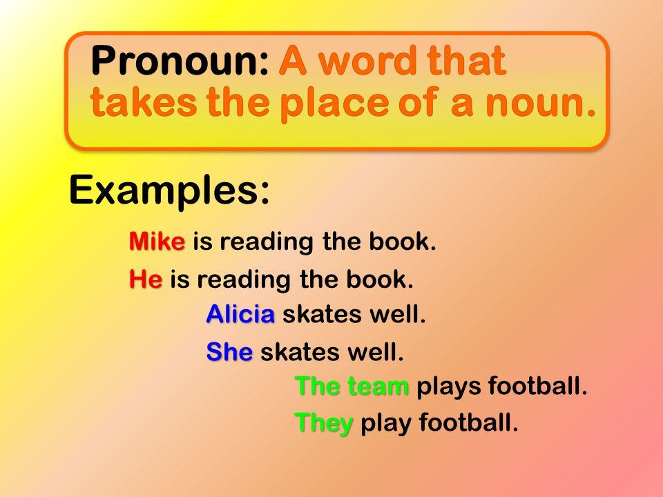 Pronoun: A word that takes the place of a noun.