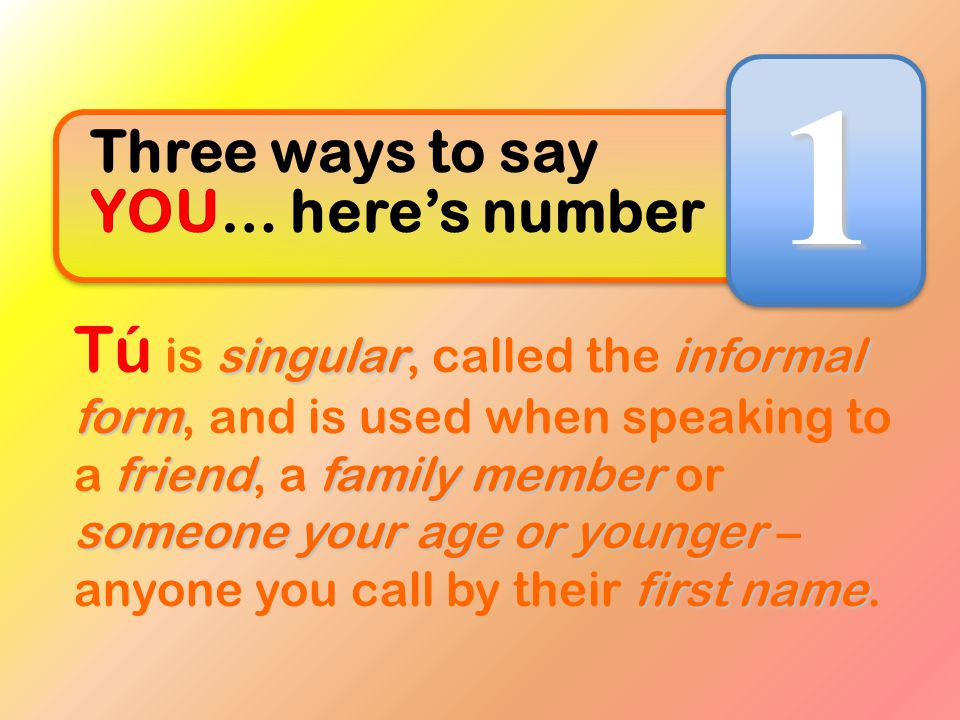 1 Three ways to say YOU… here's number.