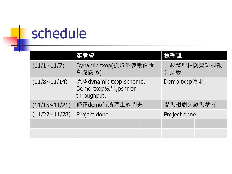 schedule 張君睿 林聖凱 (11/1~11/7) Dynamic txop(抓取個參數值所對應關係) 一起整理相關資訊和報告排版