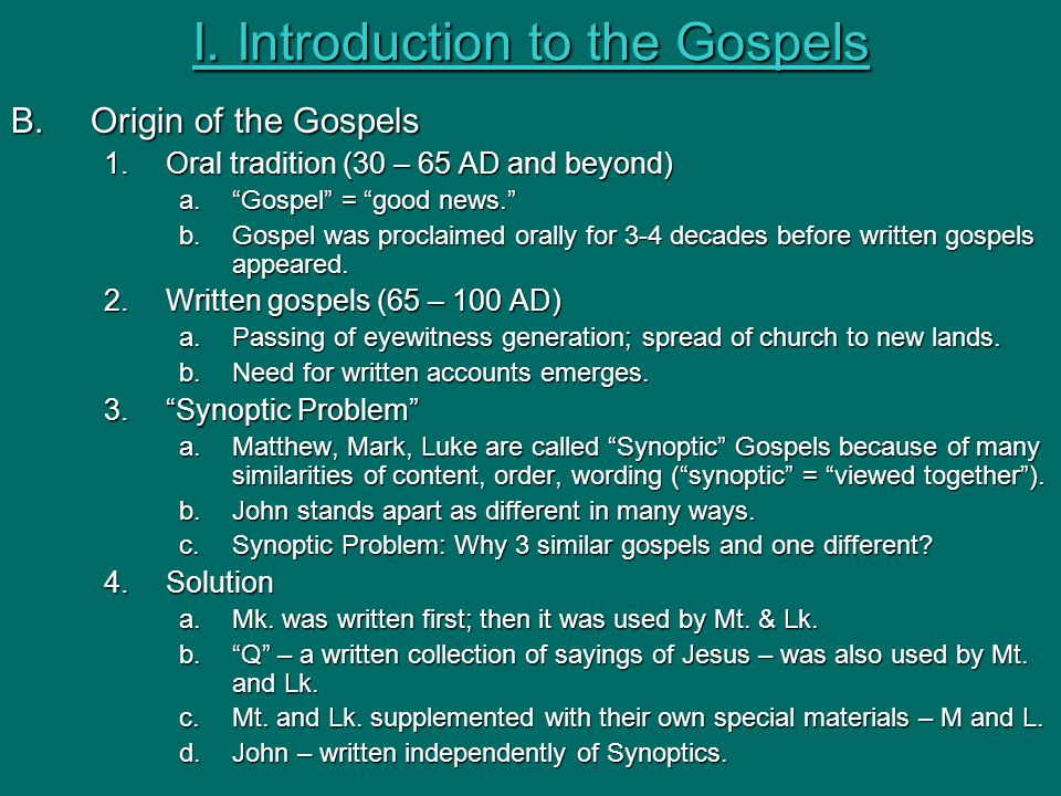 synoptic gospel writers None of the synoptic gospels name their author or they do not purport to have been written by matthew, mark, luke and john as do the synoptic writers.