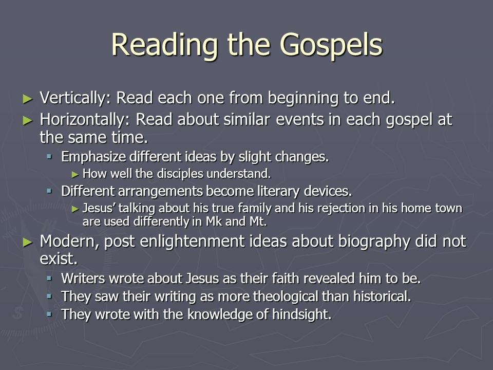the 4 gospels and their themes Free synoptic gospels papers, essays,  (4) accounts of the  that the infancy gospels of matthew and luke present to their readers, different themes,.