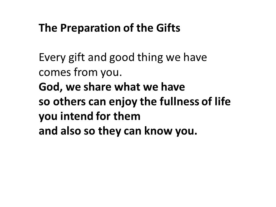 The Preparation of the Gifts