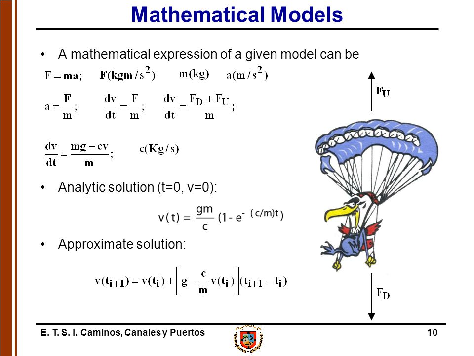 Mathematical Models A mathematical expression of a given model can be