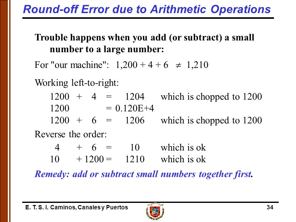 Round-off Error due to Arithmetic Operations