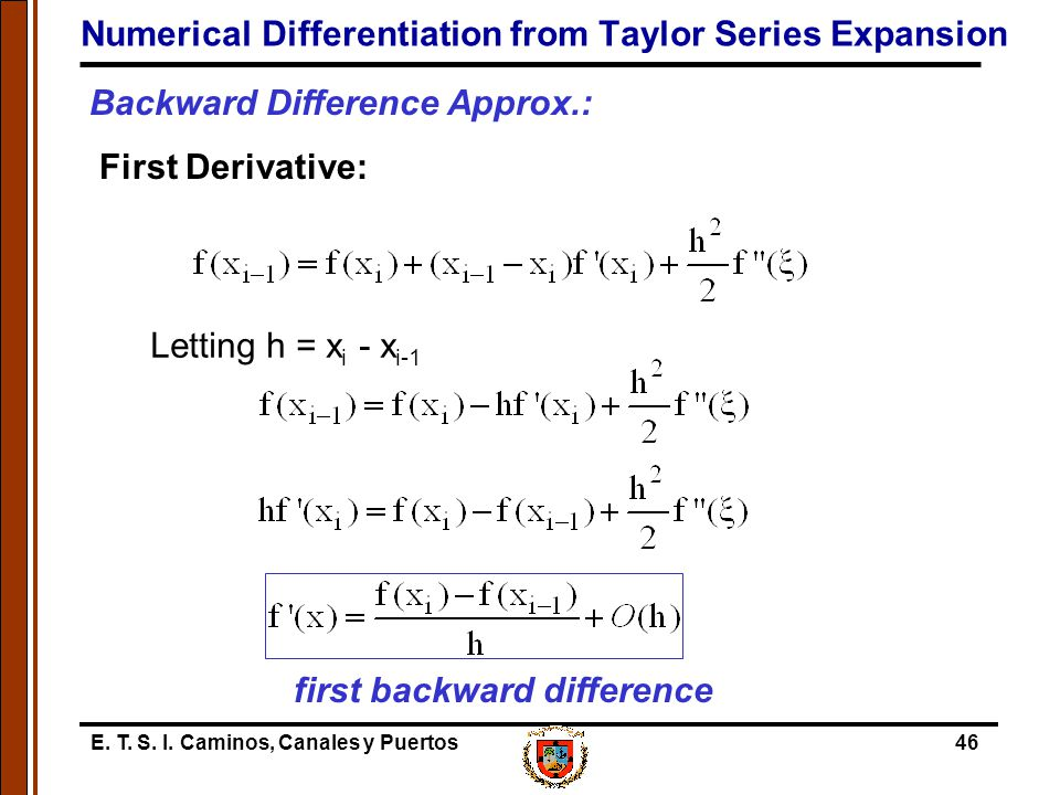 Numerical Differentiation from Taylor Series Expansion