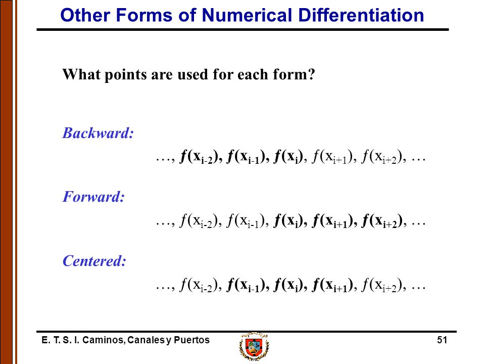 Other Forms of Numerical Differentiation