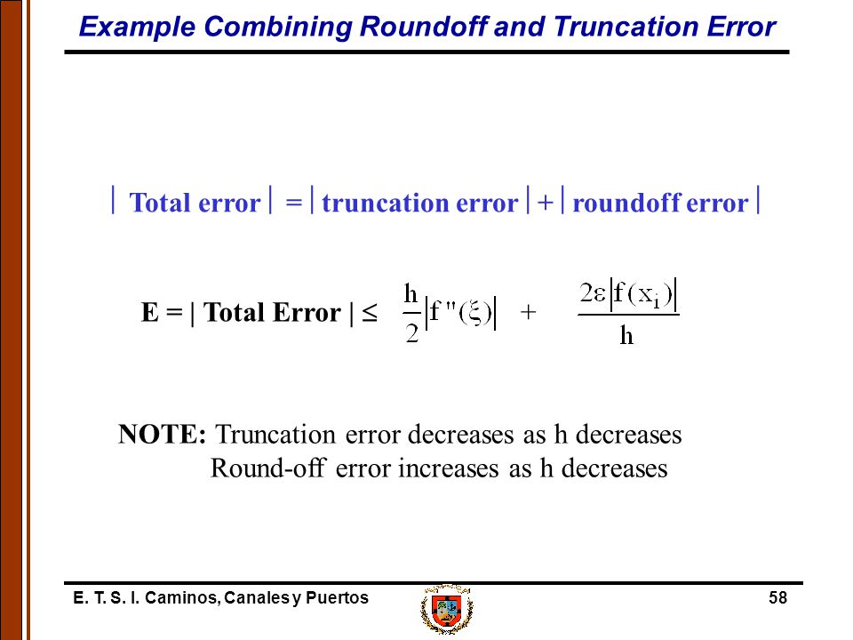 Example Combining Roundoff and Truncation Error