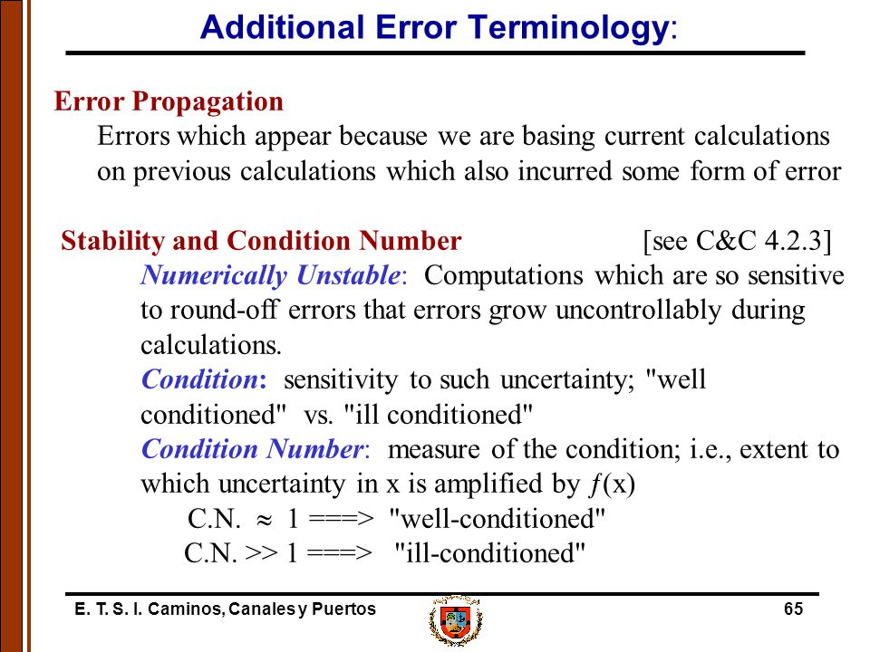 Additional Error Terminology: