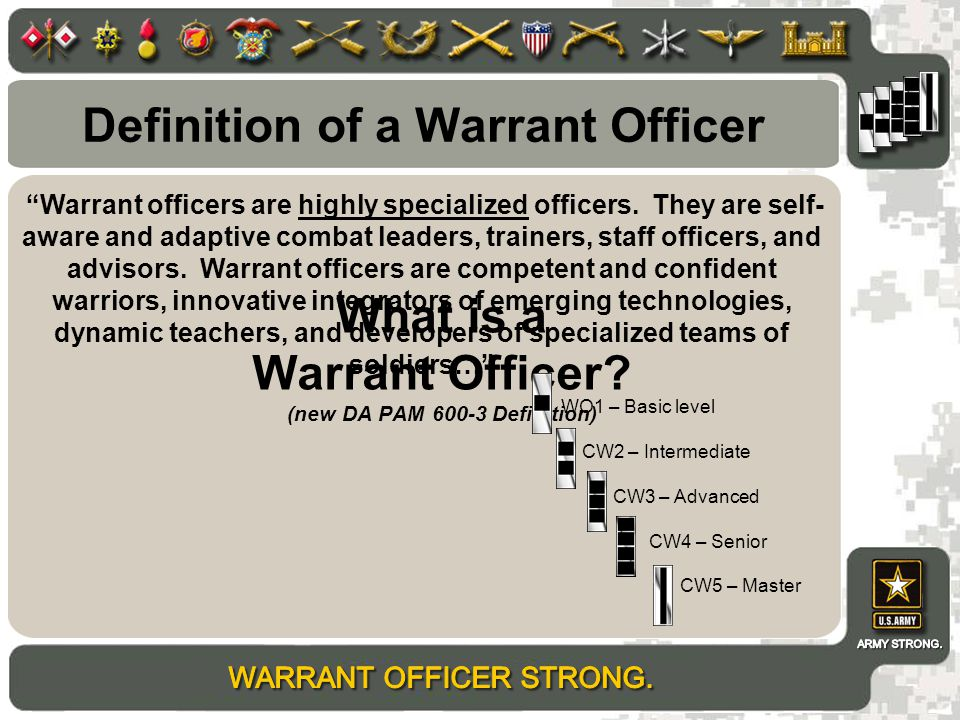 why i want to be a warrant officer Warrant officers the warrant officer program is open to all enlisted navy people with the rank of chief petty officer or above and smoked pot and want to enlist.