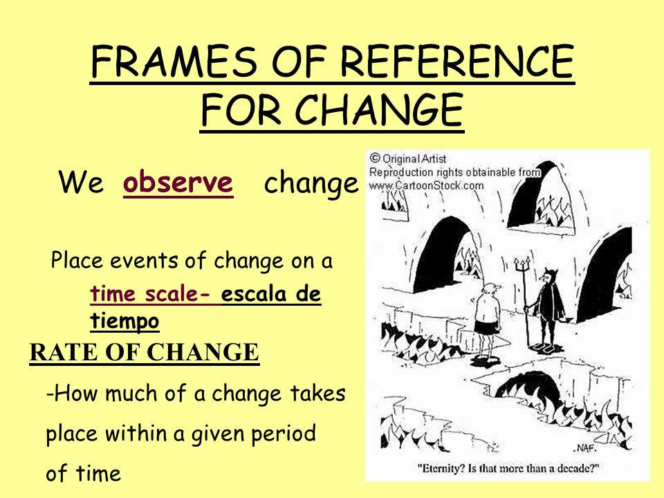 FRAMES OF REFERENCE FOR CHANGE