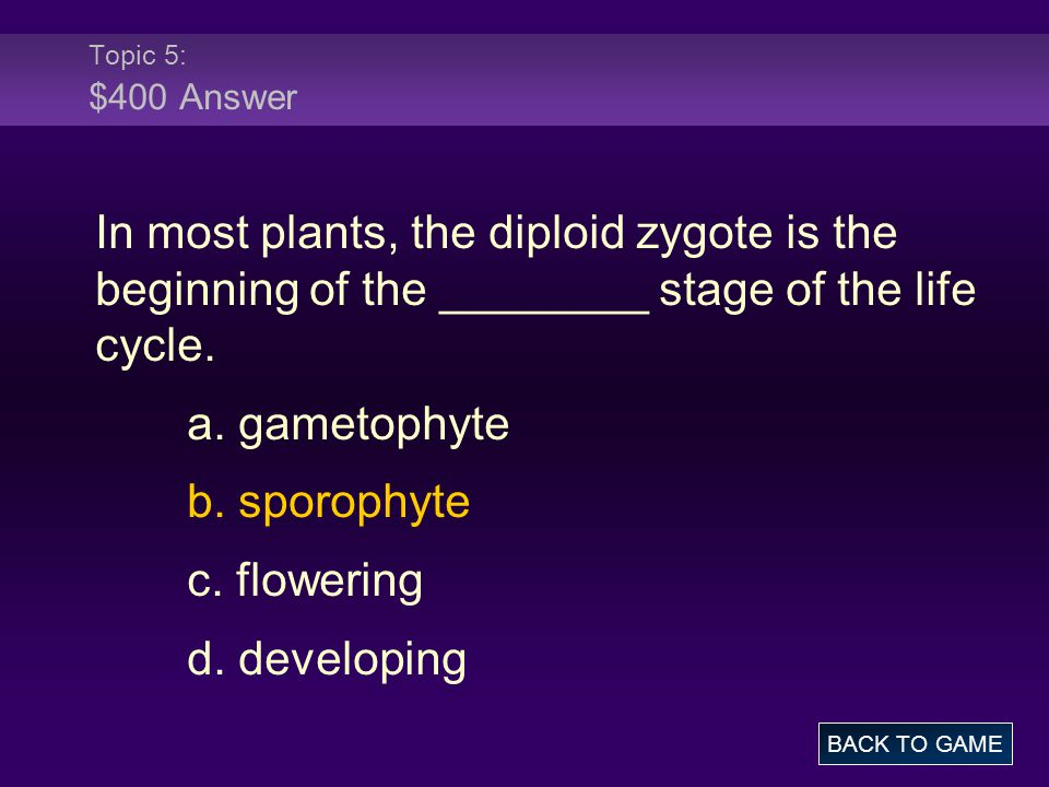 Topic 5: $400 Answer In most plants, the diploid zygote is the beginning of the ________ stage of the life cycle.