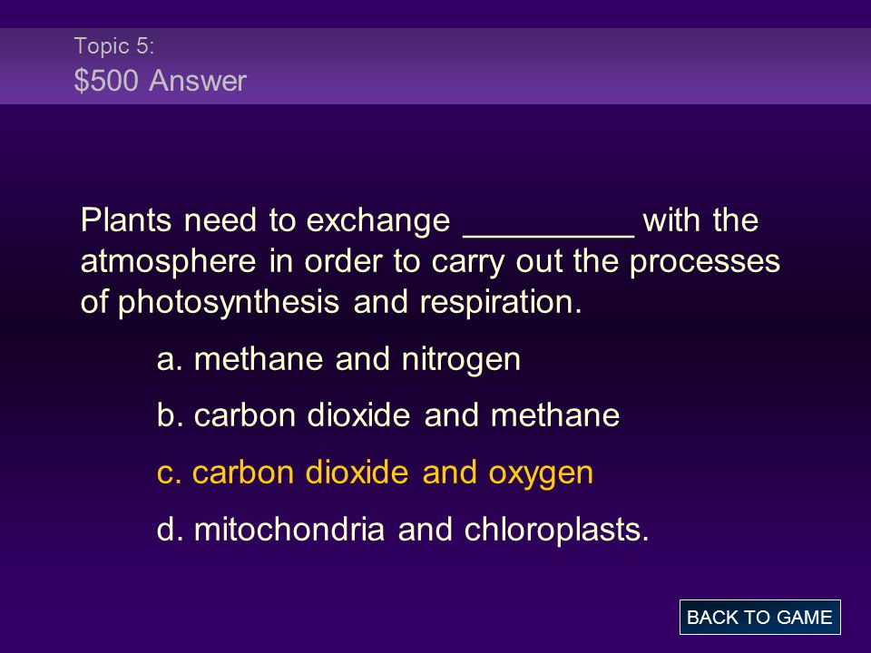 b. carbon dioxide and methane c. carbon dioxide and oxygen
