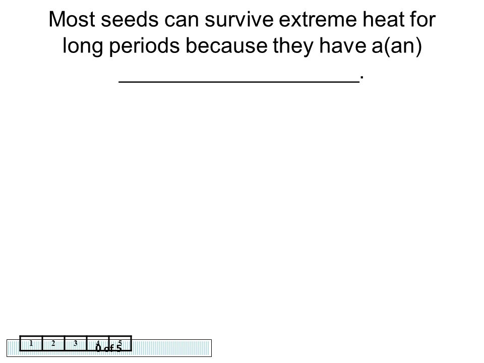 Most seeds can survive extreme heat for long periods because they have a(an) ____________________.