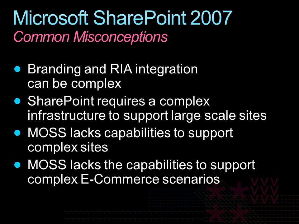 Microsoft SharePoint 2007 Common Misconceptions