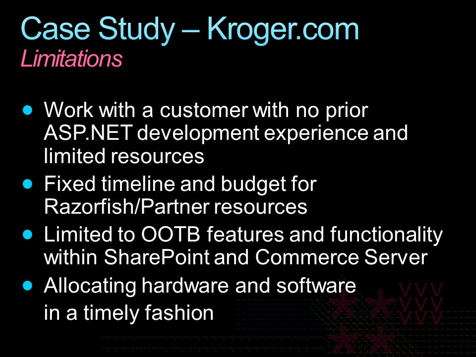 Case Study – Kroger.com Limitations