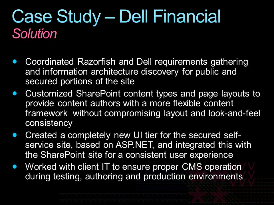 Case Study – Dell Financial Solution