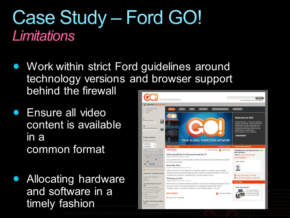 Case Study – Ford GO! Limitations