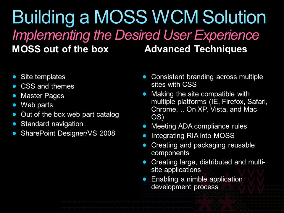 Building a MOSS WCM Solution Implementing the Desired User Experience
