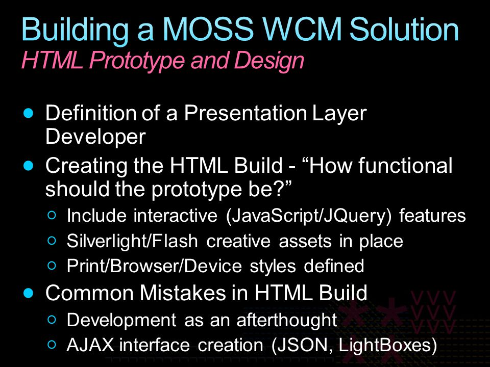 Building a MOSS WCM Solution HTML Prototype and Design