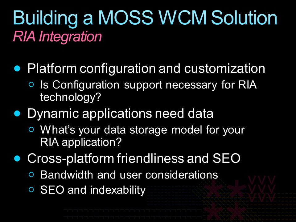 Building a MOSS WCM Solution RIA Integration