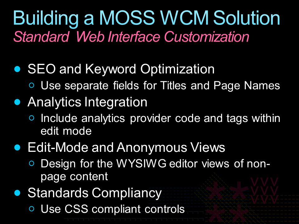 Building a MOSS WCM Solution Standard Web Interface Customization