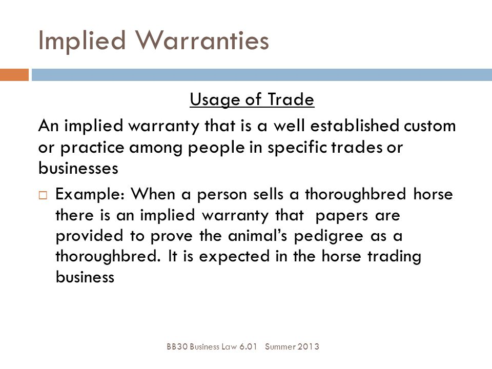 Implied Warranties Usage of Trade