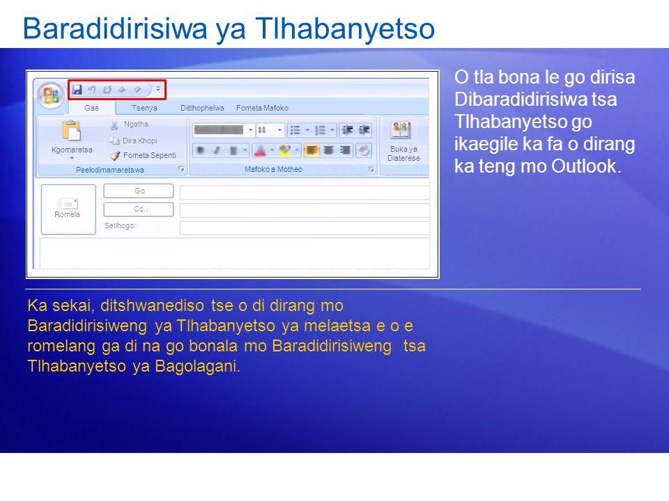 Baradidirisiwa ya Tlhabanyetso