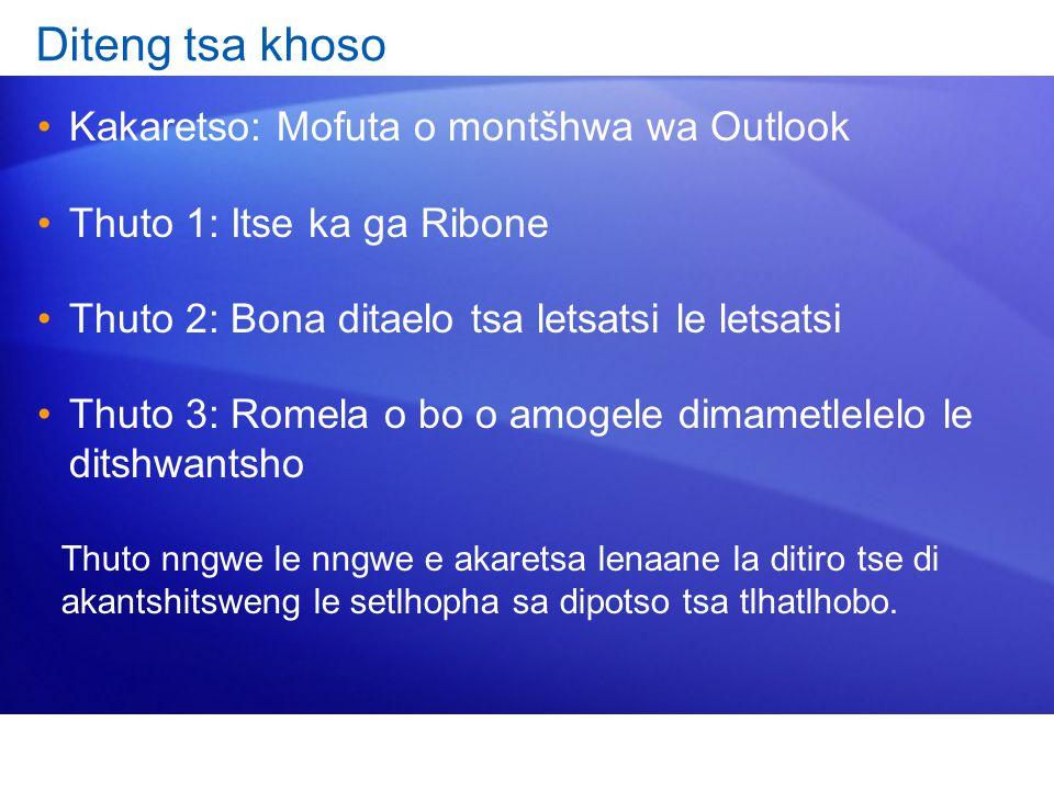 Diteng tsa khoso Kakaretso: Mofuta o montšhwa wa Outlook
