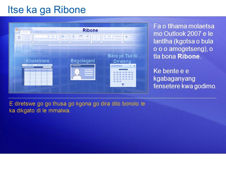 Itse ka ga Ribone Fa o tlhama molaetsa mo Outlook 2007 e le lantlha (kgotsa o bula o o o amogetseng), o tla bona Ribone.