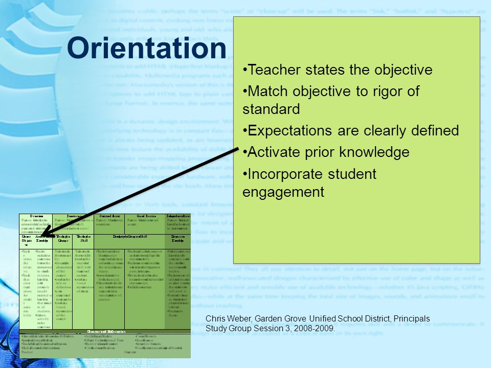 Orientation Teacher states the objective