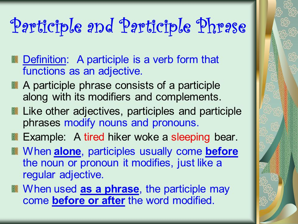 Participle and Participle Phrase