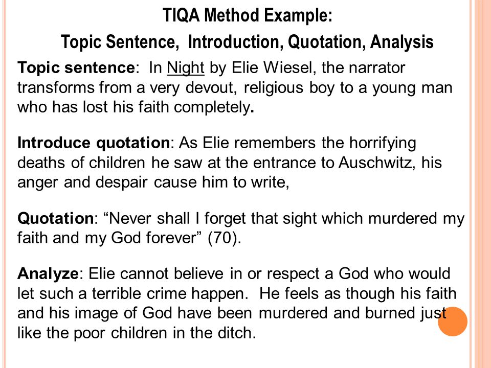 an analysis of the topic of the night by elie weisel More about analysis of elie wiesel's night essay when night falls in elie wiesel's book, night topics poetry harvard classics saints.