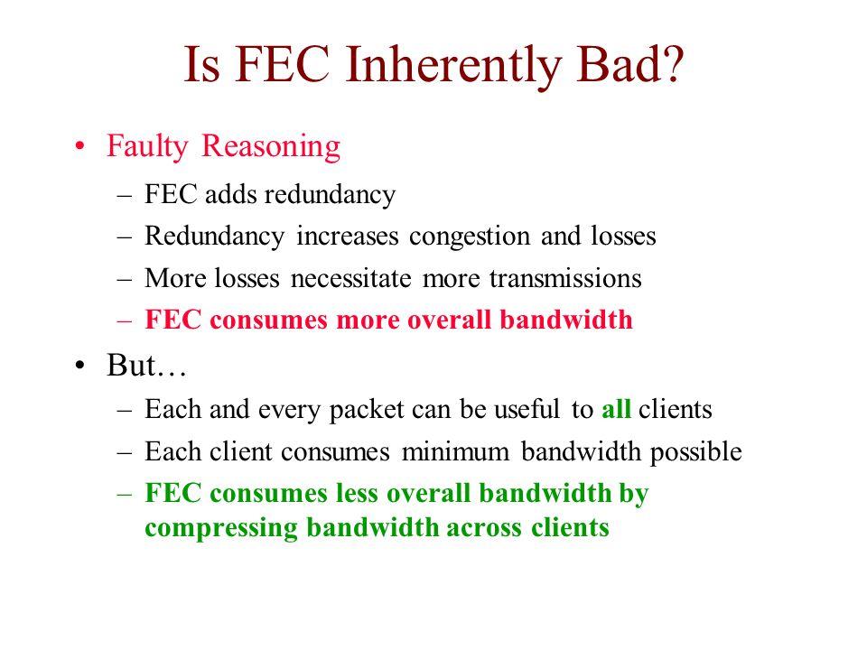 Is FEC Inherently Bad Faulty Reasoning But… FEC adds redundancy