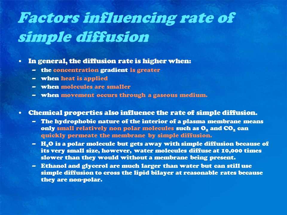 Factors influencing rate of simple diffusion