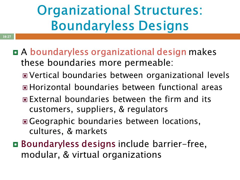 the boundary less organization Boundaryless organizations in the workplace university of phoenix hcs/325 health care management  many companies are crossing lines that have set boundaries.