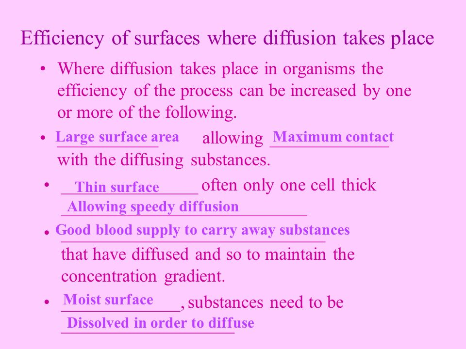 Efficiency of surfaces where diffusion takes place