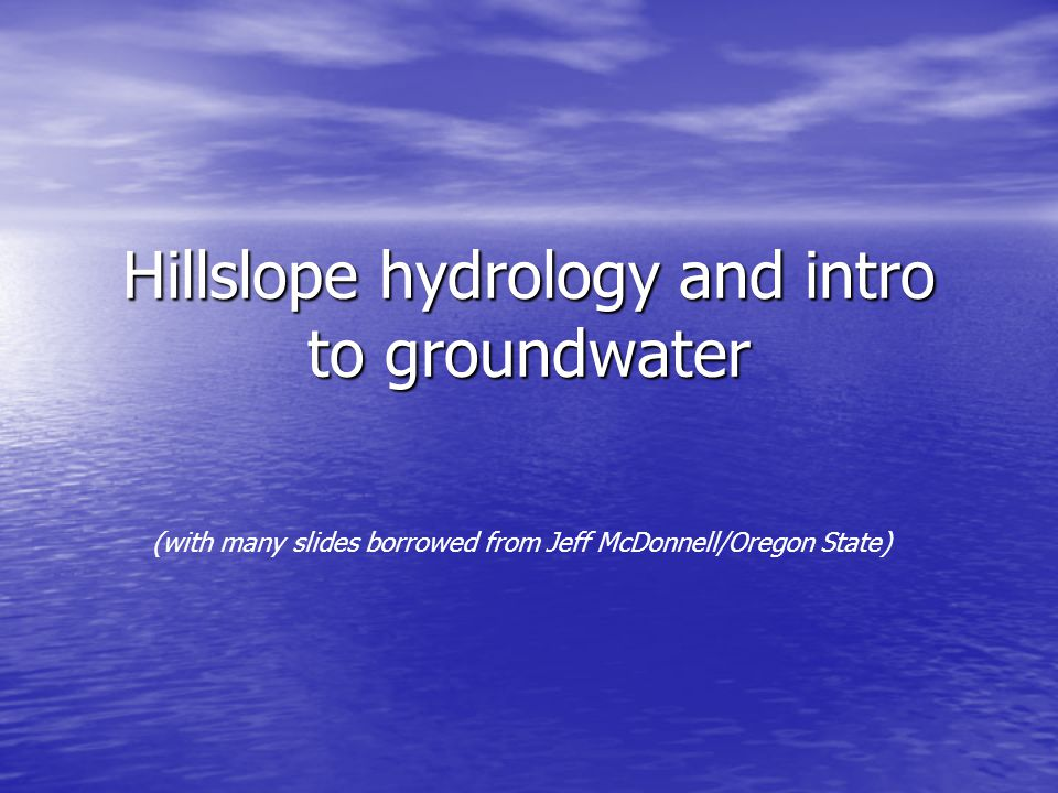 GEOGRAPHY AND HYDROLOGY