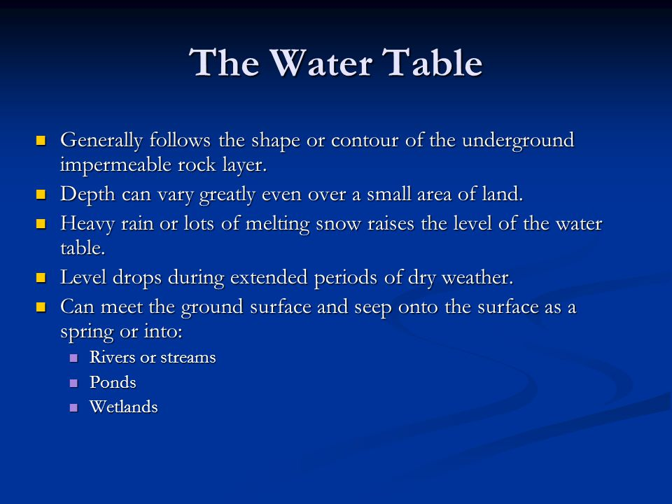 The Water Table Generally follows the shape or contour of the underground impermeable rock layer.