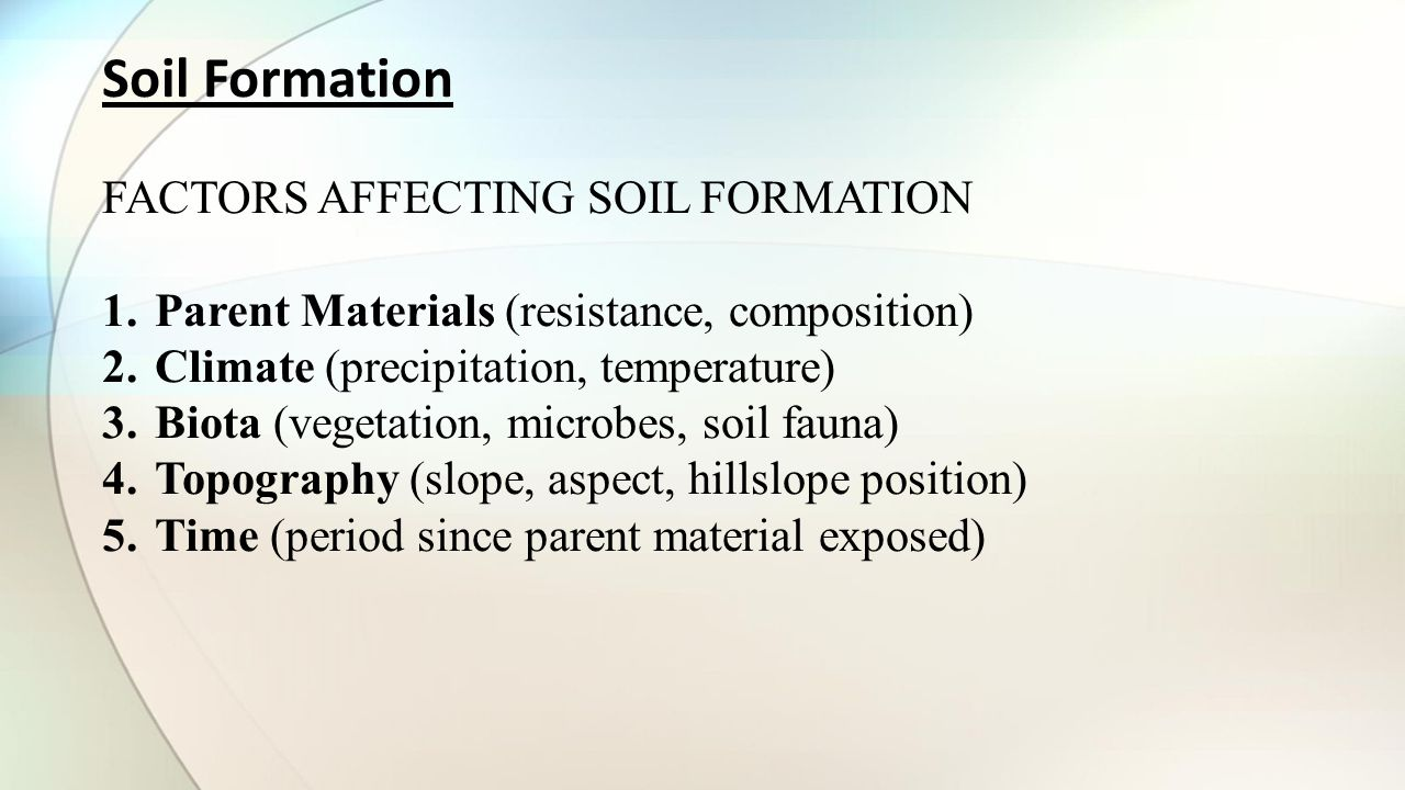 Hydrogeology geohydrology ppt video online download for Soil forming factors