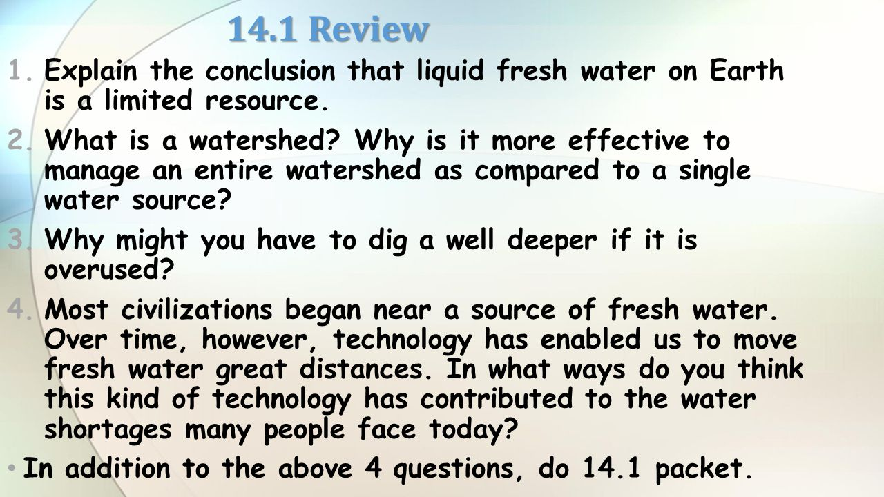 water is a limited resource environmental sciences essay The aim of this paper is to bring out the effect of economic reforms introduced in india on the direction of virtual water trade the study also identifies the dual role that virtual water has in an economy.