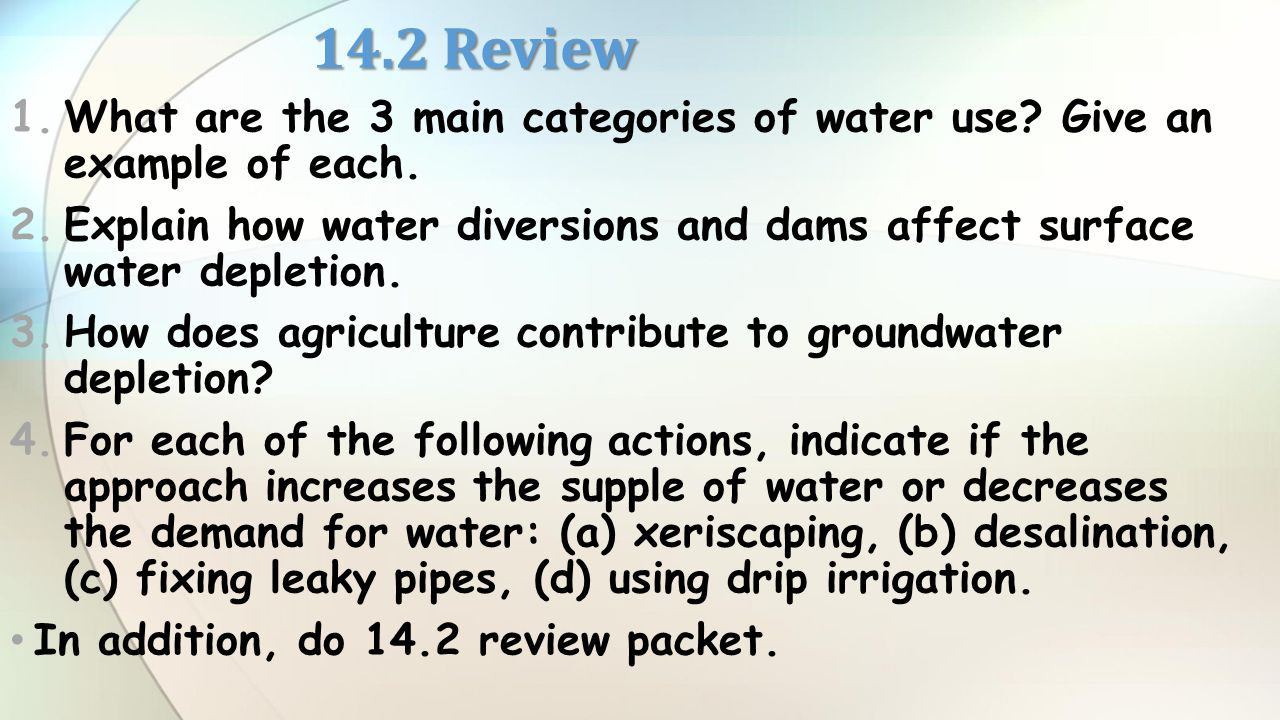 depletion or pollution of surface water from human use The framework for allocating water resources to water users  surface water is water in  human use of a groundwater source may cause the direction of seepage to.