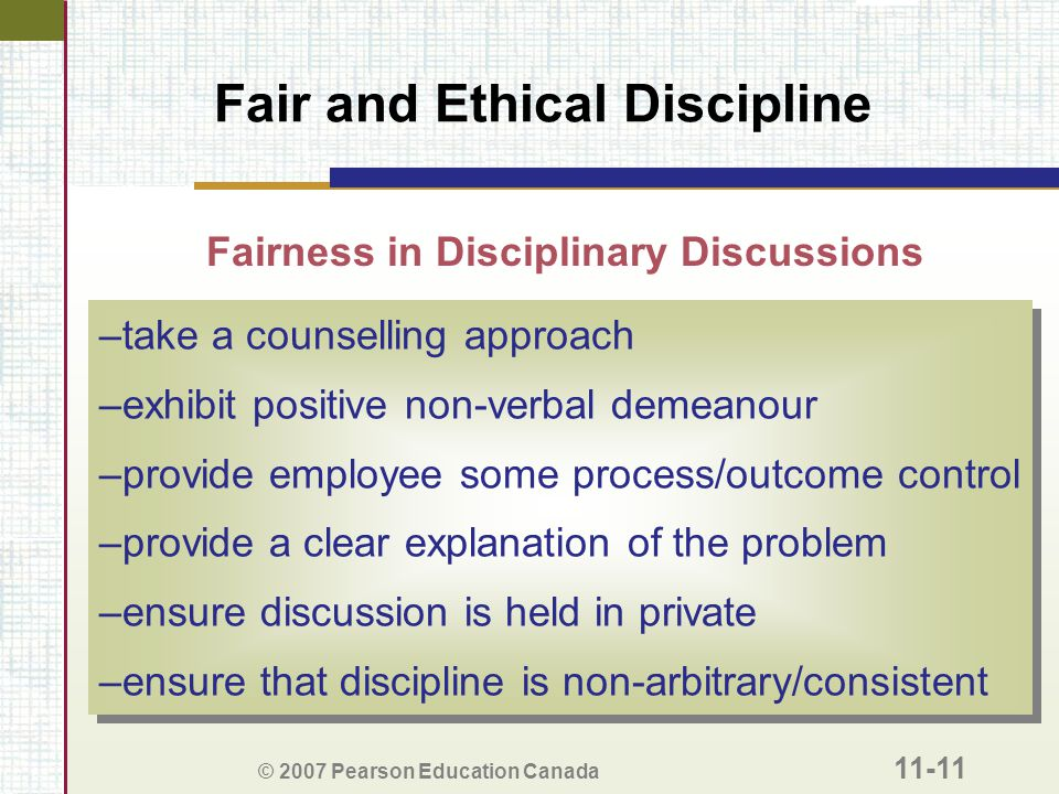 Fair and Ethical Discipline