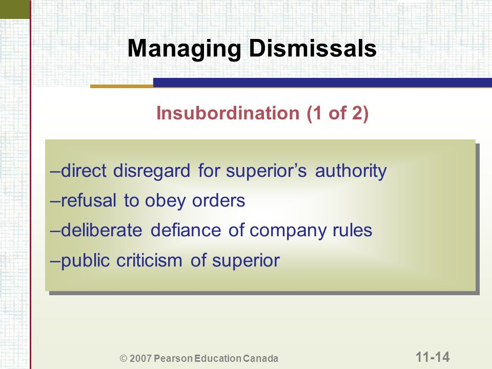 Managing Dismissals Insubordination (1 of 2)