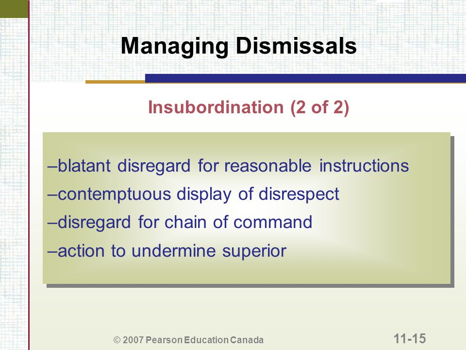 Managing Dismissals Insubordination (2 of 2)