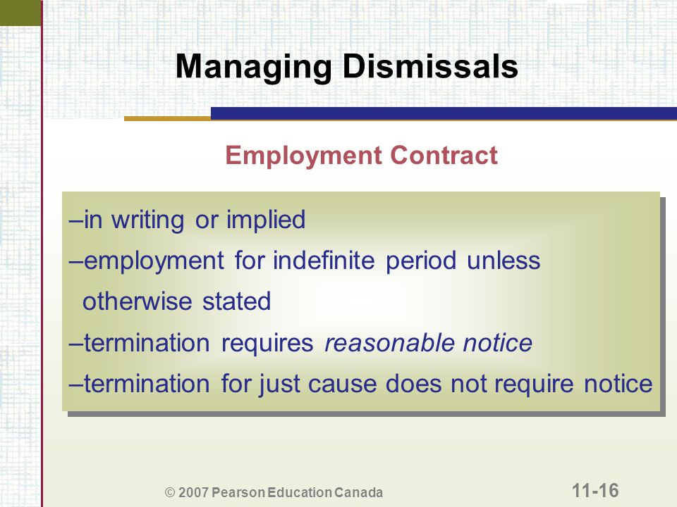 Managing Dismissals Employment Contract in writing or implied