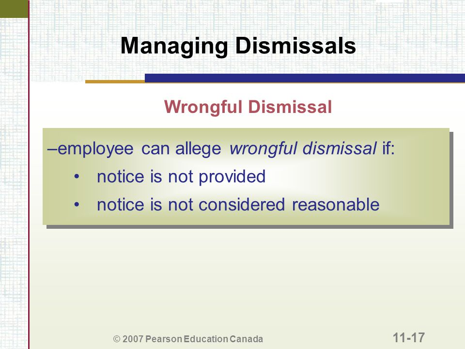 Managing Dismissals Wrongful Dismissal