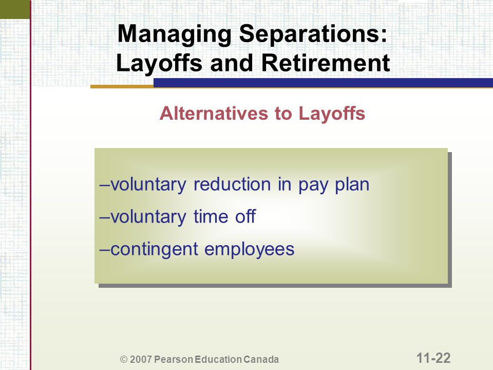 Managing Separations: Layoffs and Retirement