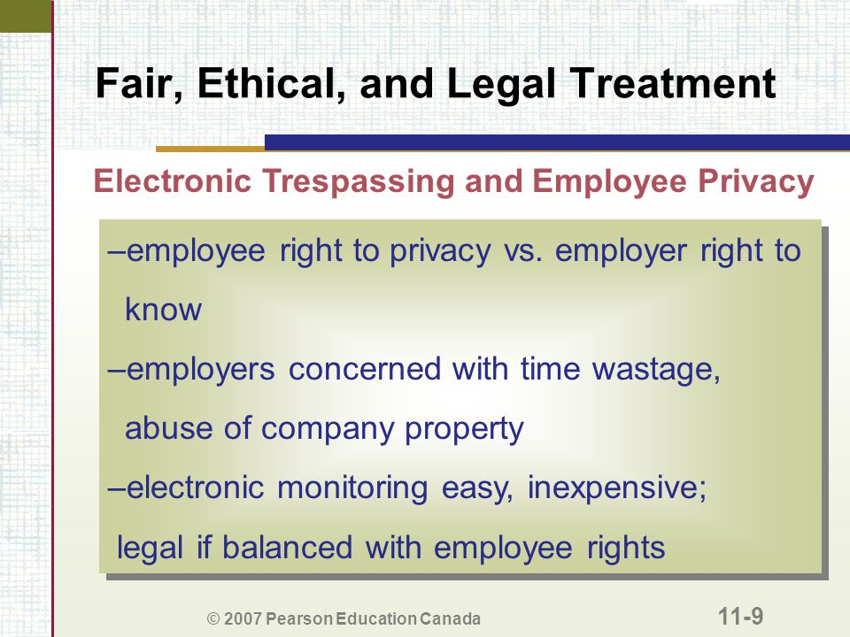 Fair, Ethical, and Legal Treatment